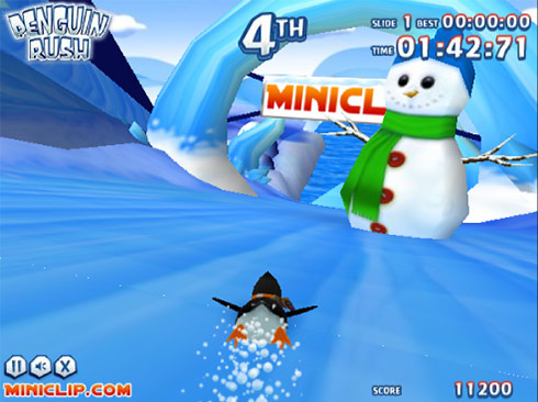penguin 3d game: slalom